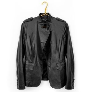 Theory leather black military style jacket